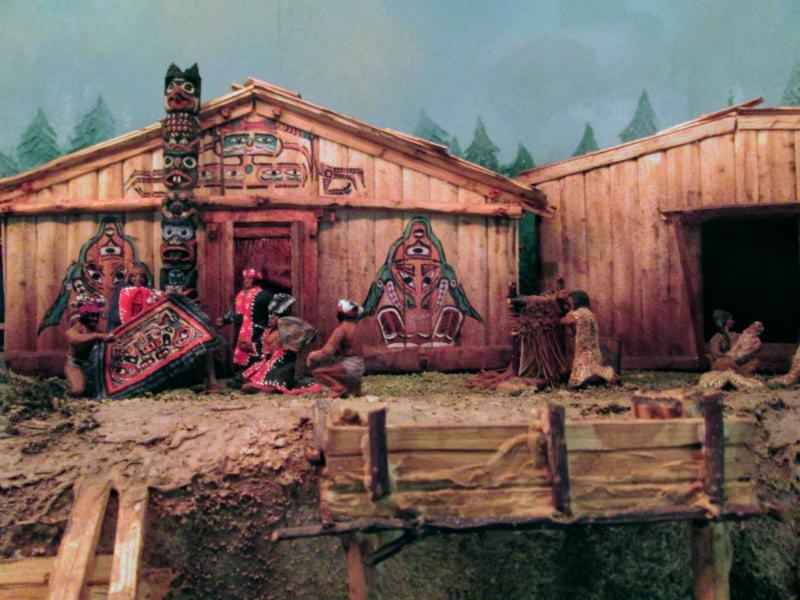 A Kwakwaka'wakw or Kwakiutl village from the 1880s at Miniature World in Victoria