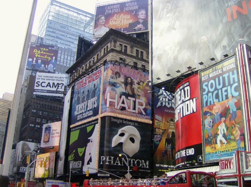 Posters for Broadway shows in New York City.